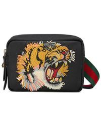 Gucci - Shoulder Bag With Panther Face Appliqué - Lyst