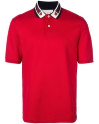 17daaceac63 Gucci Web Tiger Crest Polo Shirt in White for Men - Lyst