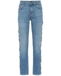 Moschino - Italy Flag Logo Stripe Slim-fit Jeans - Lyst