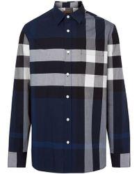 Burberry - Camicia elasticizzata a quadri - Lyst