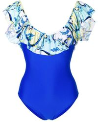 Emilio Pucci - Ruffled Printed Swimsuit - Lyst