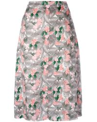 Julien David - Floral Printed Midi Skirt - Lyst