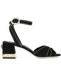 Dolce & Gabbana - Studded Block Heel Sandals - Lyst