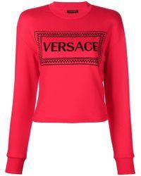 Versace - Embroidered Logo Sweatshirt - Lyst