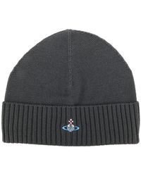 Vivienne Westwood - Logo Embroidered Ribbed Beanie - Lyst