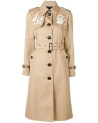 COACH - Lace Embroidered Trench Coat - Lyst