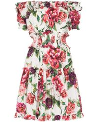 Dolce & Gabbana - Off-shoulder Frill Peony Print Cotton Mini Dress - Lyst