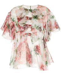 Dolce & Gabbana - Peony Print Blouse - Lyst