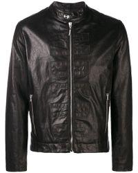 Dirk Bikkembergs - Logo Leather Jacket - Lyst