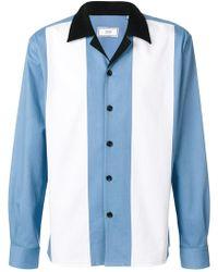 AMI - Striped Panel Shirt - Lyst