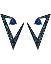 Nikos Koulis - Geometric Sapphire And Diamond Earrings - Lyst