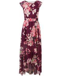 Liu Jo - Asymmetric Ruffle Floral Print Dress - Lyst