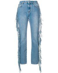 MSGM - Fringed Straight-leg Jeans - Lyst