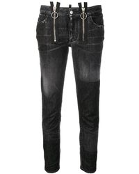 DSquared² - Zipper Runway Straight Cropped Jeans - Lyst