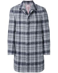 Thom Browne - Tartan Classic Bal Collar Hairy Mohair Overcoat - Lyst