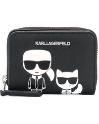 Karl Lagerfeld K/ikonik Small Zip Wallet - Black