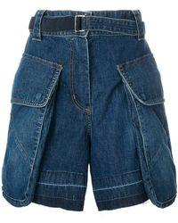Sacai - Belted Denim Shorts - Lyst