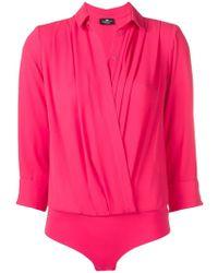 Elisabetta Franchi - Camisa drapeada con escote - Lyst