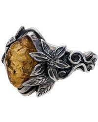 Lyly Erlandsson Aria Leaf Ring - Metallic