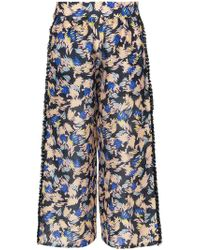 A Peace Treaty - Yuna Print Silk Linen-blend Cropped Trousers - Lyst