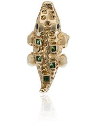 Yvonne Léon - Mini Crocodile Gold And Diamond Earring - Lyst
