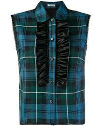 Miu Miu - Sleeveless Check Ruffle Shirt - Lyst