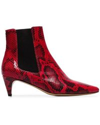 8fe4db508e2 Étoile Isabel Marant - Red And Black 50 Detty Snake Effect Leather Ankle  Boots - Lyst