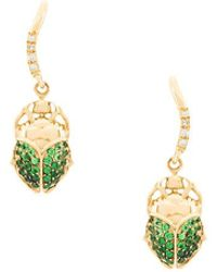 Aurelie Bidermann - 18kt Gold Mini Scarab Tsavorite And Diamond Earrings - Lyst