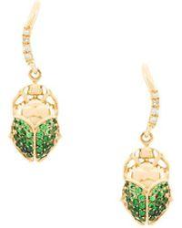 Aurelie Bidermann - 18kt Gold Mini Scarab Tsavorite And Diamond Earrings - Lyst