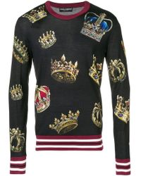 79f9a283 Dolce & Gabbana Embroidered Crown Jumper in Gray for Men - Lyst