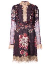 Anna Sui - Rose Print High Neck Dress - Lyst
