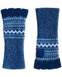 Burberry   Cashmere Fair Isle Fingerless Gloves   Lyst