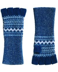 Burberry - Cashmere Fair Isle Fingerless Gloves - Lyst