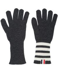 Thom Browne - Ribbed Gloves With 4-bar Stripe In Dark Grey Cashmere - Lyst