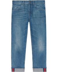 Gucci - Tapered Denim Pants With Web - Lyst