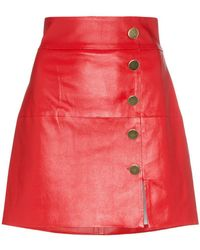 SKIIM - Lucy Leather Button Down Mini Skirt - Lyst