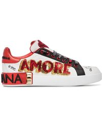 Dolce & Gabbana - White, Red And Black Amore Heart Embroidered Leather Sneakers - Lyst