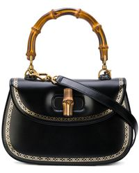 Gucci - Bamboo Frame Print Top Handle Bag - Lyst