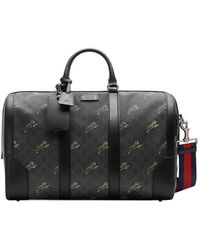 ab4b9f6bacf907 Gucci Snake Print Leather Duffle in Black for Men - Lyst