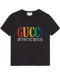 Gucci - Printed Cotton-jersey T-shirt - Lyst