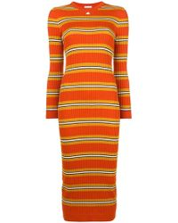 Courreges - Striped Fitted Knitted Dress - Lyst