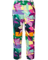 Just Cavalli - Floral Print Cropped Trousers - Lyst
