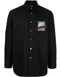Raf Simons Logo-patch Denim Shirt - Black