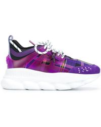 Versace - Checked Lace-up Sneakers - Lyst