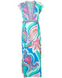 Emilio Pucci - Badea Print Deep V-neck Seersucker Dress - Lyst