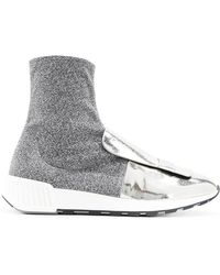 Sergio Rossi - Metallic Sock-style Sneakers - Lyst
