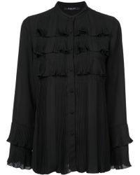 Derek Lam - Pleated Button-down Shirt With Ruffle Detail - Lyst