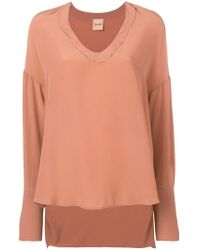 Nude - V-neck Top - Lyst