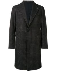Tagliatore - Checked Single Breasted Coat - Lyst