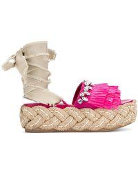 Miu Miu - Fringed Embellished Sandals - Lyst
